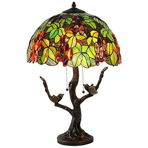 Tafellamp in Tiffany-stijl, bureaulamp, decoratief, 16 inch, met koperen voet in vogelvorm, tafellamp