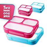 Leakproof Bento Lunchboxes, Lunch Containers 3 Compartments (2-Pack),...