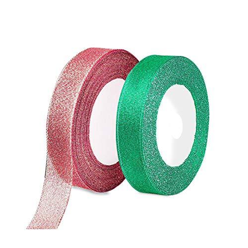 FYKERO Nastro natalizio rosso verde per artigianato – 2 confezioni da 20 mm di larghezza 23 m di nastro glitterato, decorazioni per albero di Natale, realizzazione di fiocchi e altri progetti