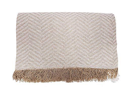 Cabatex Home - Colcha Multiusos Plaid Foulard Cubre SOFÁ O Cama Mod. ZIGA (Beige, 230_x_260_cm)