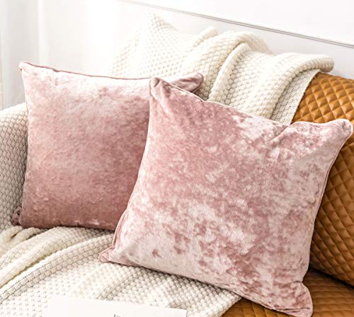 HORIMOTE HOME 2 Pcs Crushed Velvet Blush Pink Square Cushion Covers for Sofa Couch Chair, Decorative Cushion Cases Pillow Covers for Livingroom Bed Car 40x40cm