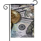 Jardin Drapeaux Billets De Banque En Dollars Et Drapeaux De Jardin Bitcoin Accueil...