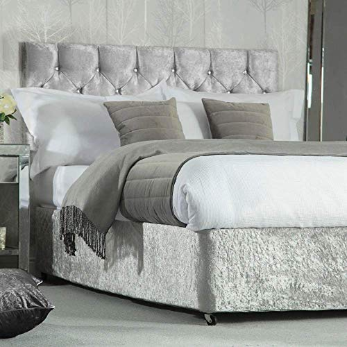 House & Home Bettvolant aus Pannesamt, elastisch, für Diwan-Bettgestell, silberfarben, Doppelbettgröße