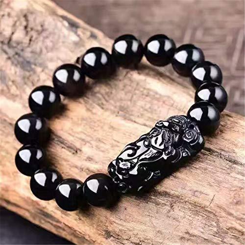 Feng Shui Pixiu pulsera Riqueza Negro Obsidiana pulsera amuleto prosperidad atraer la buena suerte del dinero del amor de Lucky Charms Brazalete del jade joya de regalo para los hombres/mujeres,14mm