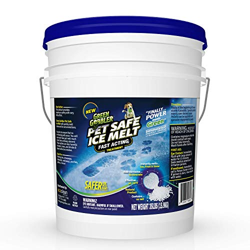 Green Gobbler Pet Safe Ice Melt Fast Acting Treatment | Magnesium Chloride Ice Melt Pellets | Pet & Plant Safe Ice Melter (35lb Pail)