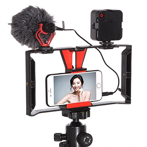 FocusFoto Smartphone Video Rig Camera Cage Mount Holder Stabilizer Handle Grip with -