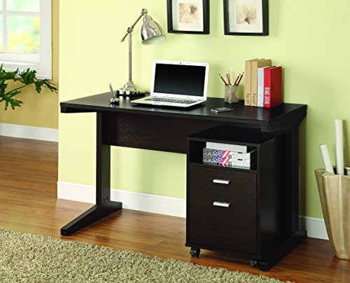 2-Piece Writing Desk Set with Rolling File Cabinet Cappuccino