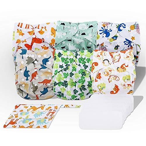 Exqline Stoffwindeln Windelhose Baby Waschbar Set, 6er Pack Mikrofaser Trainerhose Töpfchentraining Wasserdicht Windeln Kinder für Neugeborene, Kleine Mädchen und Jungen mit Geschenkbox