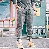 Photo de Jeans Surdimensionné Hommes Jeans Denim Long Lâche Nouveau Stretch Sarouel Plus La Taille Lâche Pieds Denim Pantalon Hommes 5XL Gris
