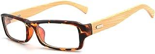 Natural Bamboo Wooden Glasses Black Frame Small Square Frame Flat Glasses Plain Glasses (Color : 02Tea, Size : Free)