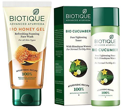Biotique Bio Honey Gel Refreshing Foaming Face Wash, 150ml And Biotique Bio Cucumber Pore Tightening Toner, 120ml