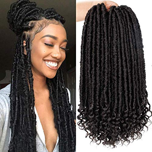 Straight Goddess Faux Locs With Curly Ends Ombre Braiding Locs Kanekalon Synthetic Crochet Braiding Hair Extensions Dreadlocks For Braids 6Packs (1B)