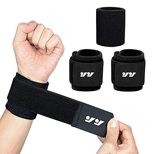 ProChosen Handgelenk Bandagen, 3er Pack Bandage Handgelenk mit 2 Stück Verstellbaren Handgelenkschoner und 1 Stück Wristbands für Fußball, Basketball und Leichtathletik Fitnesstraining