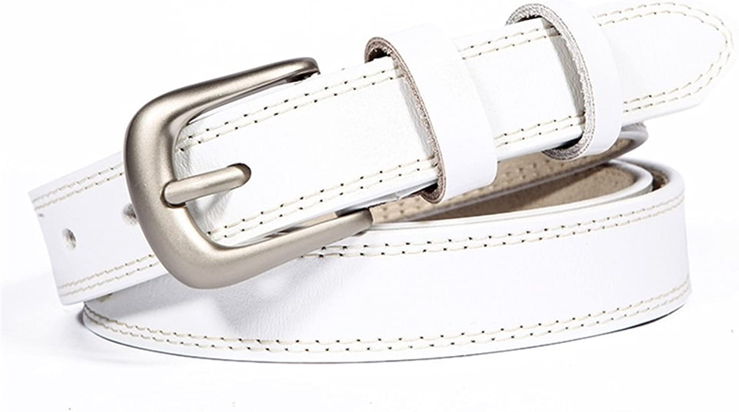 Women's Belts Genuine Leather Jeans Belts Classic Jean Strap (color   White, Size   110cm)