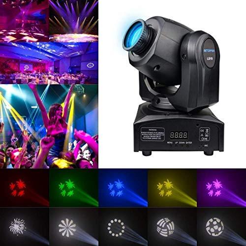 Muster Bühnenlicht, DJ Moving Head LED-Strahl Bühnenlichter 30W Mini Zoom Strobe Spot Lighting 7 GOBO Lights mit 9/11 Channel Strobe für Partys, Events, Disco etc.