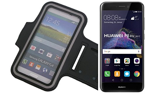 K-S-Trade Coloque Brazal del Neopreno Jogging Caso/Brazal De Los Deportes/Case Deporte/Deporte Alto Brazalete/para Huawei P8 Lite 2017 Dual SIM En Negro, con Reflector