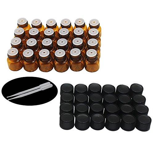 Yizhao Braune Leere Glasflaschen 1ml,Probe Glasflaschen mit Orifice Reducers für Ätherisches Öl,E-Liquids,Aromatherapie,Parfüm,Massage,Chemielabor – 24Pcs