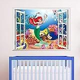 ufengke Adesivi Murali Sirena sotto Il Mare Adesivi Muro Cartone Animato Under The Sea Vista Effetto 3D Fuori dalla Finestra per Asilo Nido Camera da Letto Bambini
