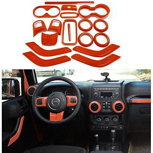 Opall 18PCS Full Set Interior Decoration Trim Kit Steering Wheel& Center Console Air Outlet Trim, Door Handle Cover Inner For Jeep Wrangler JK JKU 2011-2018 2 Door &4 Door (Orange)