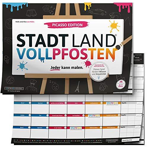 DENKRIESEN - Stadt Land VOLLPFOSTEN® - Picasso Edition - 'Mal Stadt Land FLUSS ZUM MALEN'   Familienspiel Spielblock   Partyspiel
