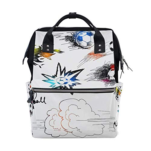 NHJYU Football Soccer Print Travel Sac à dos Large Nappy Sac à langer Laptop Sac à doss for Women Men