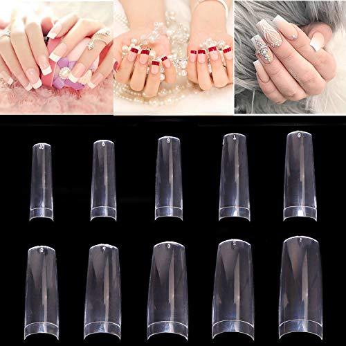 500 Stück Künstliche Fingernägel Ballerina Nagelspitzen French Falsche Nägel Muster Tips Nägel Clear Kunstnägel Tips
