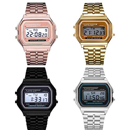 Youth ever Reloj de Pulsera de Cuarzo Digital de Acero Inoxidable con Banda de Acero Inoxidable para Hombre Relojes de Pulsera