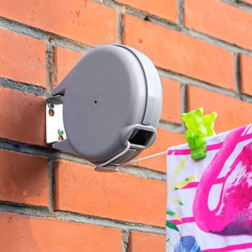 Tatkraft Long | Corde à linge rétractable de 12 m pour vêtements | Étendoir à linge très robuste et résistant | Mécanisme rétractable automatique | Installation facile sur murs | Séchoir de jardin
