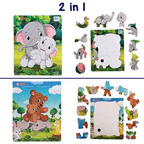 Just Smarty Preschool Jigsaw Puzzles 10 and 11 pcs Kids Ages 3-5. Easy, Cardboard Puzzle with Tray Great for Beginners, Boys and Girls. Toddler Puzzles 3 Year Old Fun Learning Educational Toy, Level 3