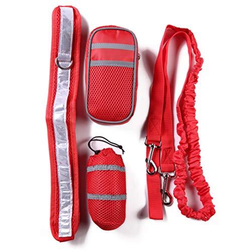 Toporchid Running Pet Sports Suit Reflektierendes Traktionsseil-Set Running Traction Belt-Aufbewahrungstasche (rot)