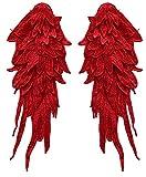 Craftuneed Un par de espejo de plumas de ala de encaje con motivo de apliques coser en el hombro encaje mangas parche para hacer costura de vestir (rojo)