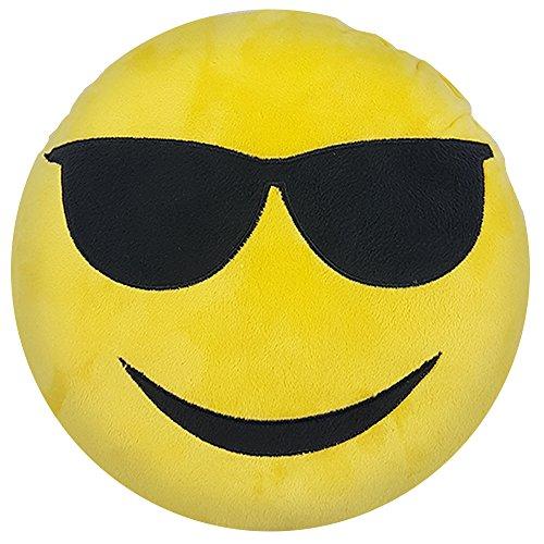 PROHEIM Emoji Kissen 30 cm Emoticon Dekokissen Smiley mit verschiedenen Mustern zur Auswahl (Cool)