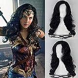 Parrucca da donna con capelli lunghi e ondulati sintetici resistenti al calore, con frangia laterale