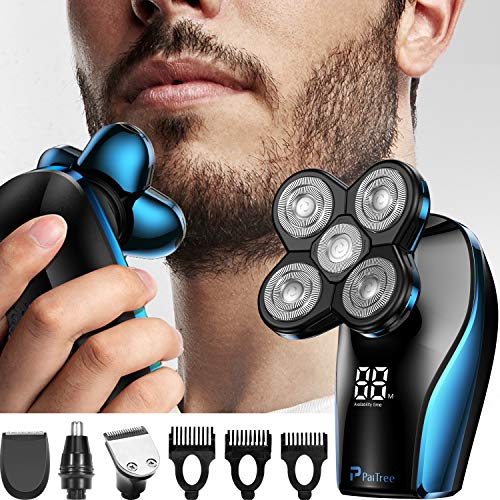 PaiTree Elektrorasierer für Männer, Kopfrasierer für kahle Männer mit LED-Anzeige Schnelleres Aufladen 5D schwimmende wasserdichte Elektrorasierer mit Haarschneidemaschine und Nasenhaarschneider-Blau