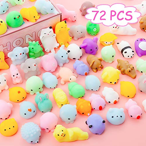 YIHONG 72 Pcs Kawaii Squishies, Mochi Squishy Toys for Kids Party Favors,Mini Stress Relief Toys for Halloween Christmas Party Favors,Birthday Gift,Classroom Prize,Goodie Bag