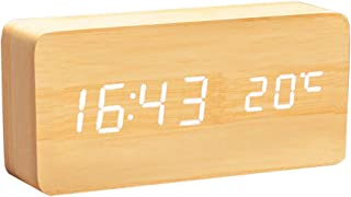 Mengshen Wooden Digital Clock - Multi-Function LED Alarm Clock with Time/Date/Temperature Display and Voice Control for Ho...