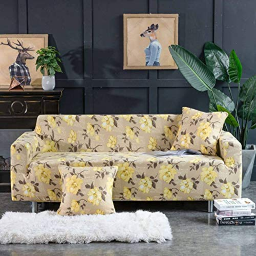 JHLD Fundas para Sillones para 1 2 3 4 Plaza, Poliéster Elástica Cubre Sofa Exclusivo Impresión Funda Sofá Lavable para Mascota Niños-E-3Asiento 190-230CM (75-90inch)