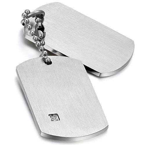 Cupimatch Herren Hundemarke Halskette, 2 Militärischen Erkennungsmarken Armee Stil Dog Tag Anhänger mit 55cm Kette, Silber