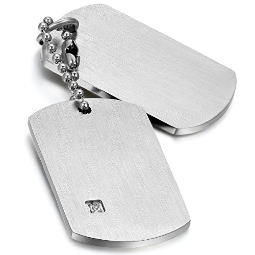 Cupimatch Men Military Army Style Polished Stainless Steel Dog Tag Pendant Necklace with 22' Chain Silver (Polished Dog Tag Pendant Necklace)