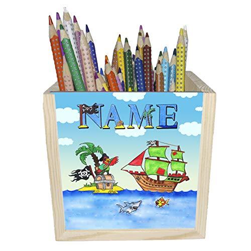 Pirat Holz Stiftebox mit Name und Schriftartwahl / 10x10x10cm