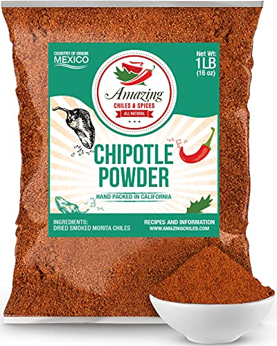 Chipotle Chili Powder Seasoning 1 LB (16oz) – Natural and Premium. Great For Meats, Grilling Rubs, Sauces, Salsa. Medium to High Heat - Sweet & Smoky Flavor. By Amazing Chiles & Spices.