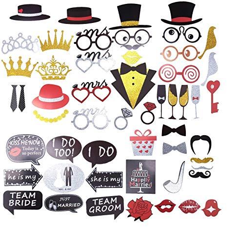 iPobie 54 Pièce Accessoires Photobooth Anniversaire Masquerade, Photobooth Accessoires pour Mariage Partie Décoration