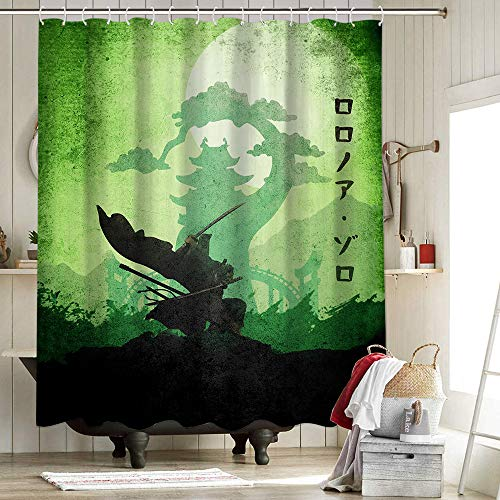 Law Wano One Piece Shower Curtains Personality Waterproof Resistant Polyester Fabric Shower Curtain Set Anm Diz Minimalist Manga Wano No Zoro One Piece 72X72 Inch