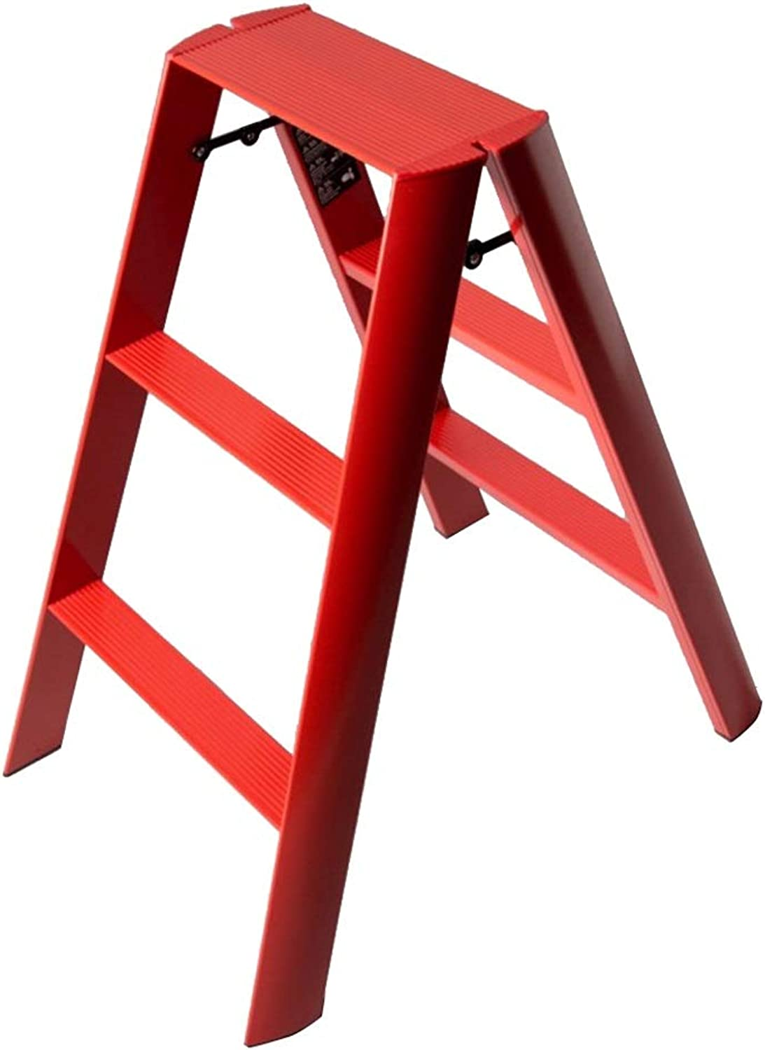 NEVY- Fold Ladder Stools Household Indoor 3-step Ladder Multifunction Step Stool Portable Aluminum Alloy Thicken Ladder (color   RED)