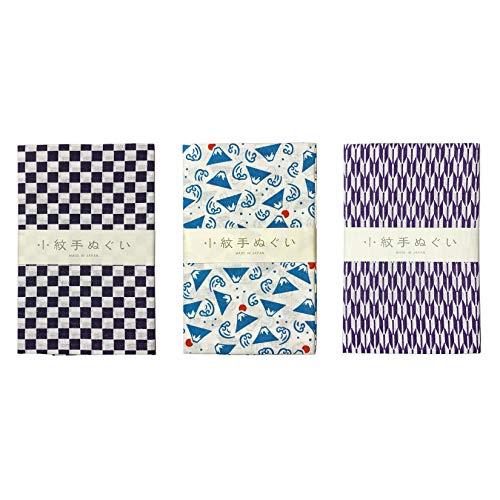 MIYAMOTO Komon Tenugui - Juego de toallas (3 unidades), color azul
