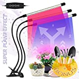 Grow Light for Indoor Plants Clip Lamps IR & UV Red and Blue Spectrum for Plant Succulents, Cactus, Micro Greens, Seedlings - 60W Three Head 60 LED, 5W Dimmable Levels - 3 Switch Modes and Sun Timing!