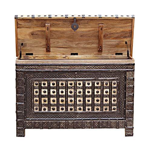 Casa Moro Schöne orientalische Truhe Hessa 120x40x77 (BxTxH) mit 3 Schubladen aus massiv Mangoholz mit Metallapplikationen verziert | Orient Holztruhe im Kolonialstil | CAC3602190 - 4