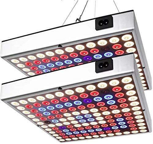 LED育成ライト、45W育成ランプキットフルスペクトル高効率LEDチップ付きUV IR赤青開花育成ライト屋内水耕栽培温室野菜植物と花種まきから収穫まで (2パック)