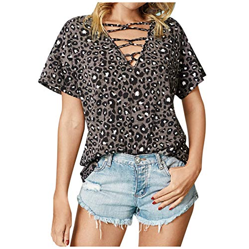 Women's Undershirt Blouses Women's T-Shirts Summer Tunic Loose with Buttons T-Shirt Short Sleeve V-Neck Short Tops with Cute Stripes Print - Multicolour - S