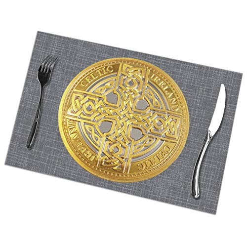 CANpd Zhan Celtic Cross Token Table Accessories Placemat Kitchen Table Place Mat Dinner Hall Dinner Table Mats Gray Dining Table Set of 6 Pcs